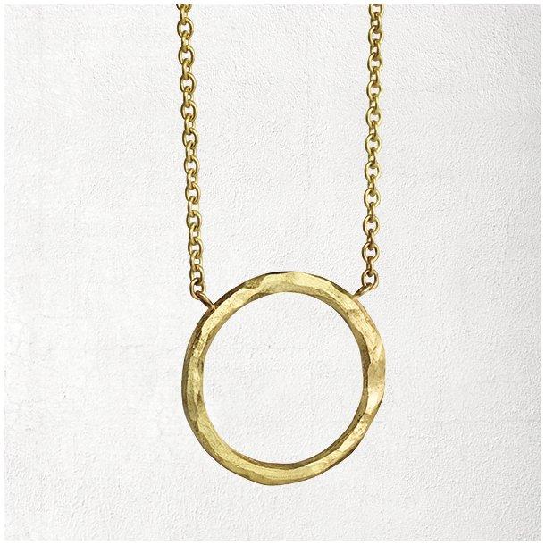 Guld halskæde med organic cirkel