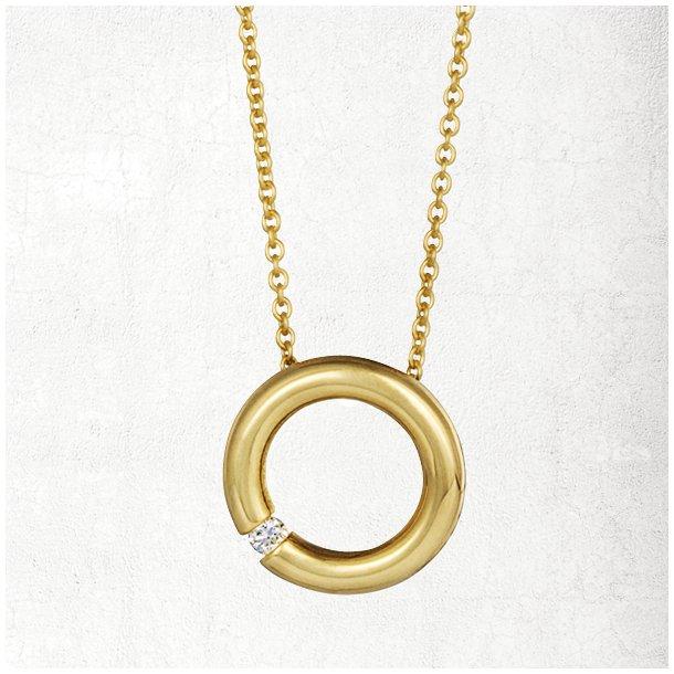 Guld halskæde med »Tension-set« brillant vedhæng