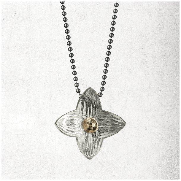 Halskæde med sølv stjerneblomst med guld kugle