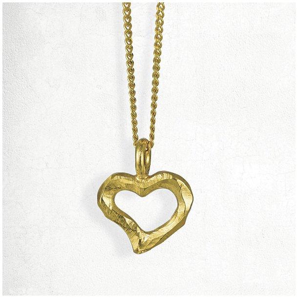 Halskæde med organisk formet guld hjerte med rustik overflade
